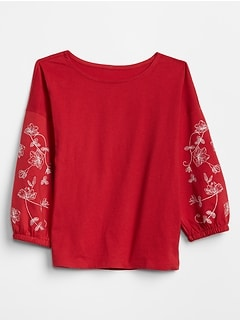 Embroidered Three-Quarter Sleeve T-Shirt in Jersey