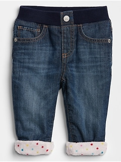 Pull-On Fleece-Lined Slim Jeans