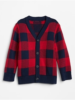 Toddler Buffalo Plaid Cardigan Sweater