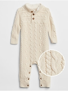 Baby Cable-Knit Sweater One-Piece