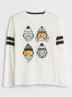 Kids Embellished Long Sleeve Graphic T-Shirt