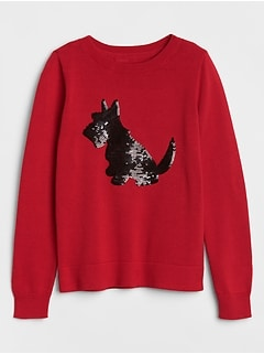 Dog Sequin Crewneck Pullover Sweater
