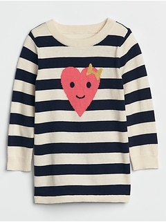 Toddler Stripe Heart Sweater Tunic