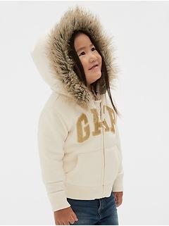 Cozy Fur-Trim Logo Zip Hoodie