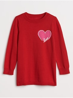 Toddler Embroidered Love Graphic Sweater