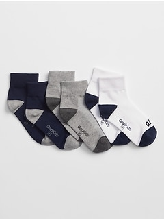 Kids Gap Logo Quarter Crew Socks (3-Pack)