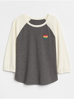 Embroidered Heart Raglan T-Shirt