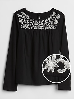Embroidered-Yoke Long Sleeve T-Shirt in Jersey