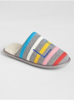 Stripe Sherpa Slippers