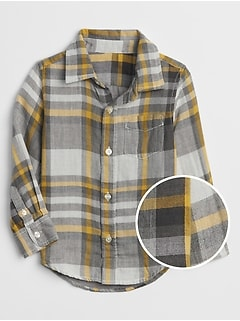 Plaid Double-Weave Long Sleeve Shirt