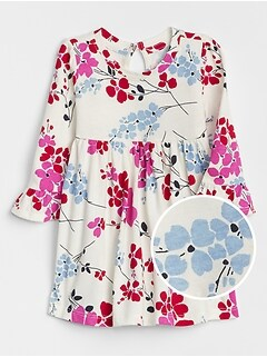 Shirred Floral Dress