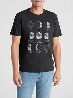 Moon Graphic Crewneck T-Shirt in Jersey