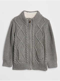 Cable-Knit Zip Front Cardigan Sweater