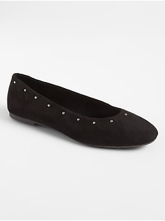Studded Ballet Flats in Faux Suede