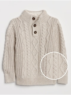 Cable-Knit Mockneck Sweater