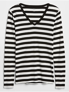 Stripe V-Neck Long Sleeve T-Shirt