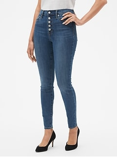 High Rise Legging Jeans with Button-Fly