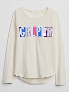 Kids Flippy Sequin Raglan T-Shirt