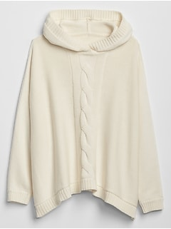 Hoodie Cable Poncho Sweater