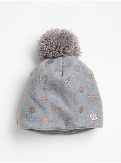 Printed Fleece Pom-Pom Beanie