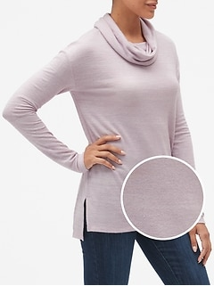 Softspun Brushed Long Sleeve Cowl-Neck Top