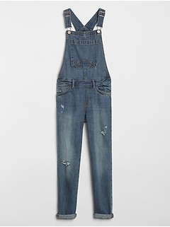 Destructed Denim Overalls