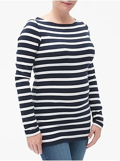 Maternity Modern Stripe Boatneck T-Shirt in Modal