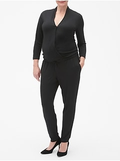Maternity Long Sleeve Wrap Jumpsuit
