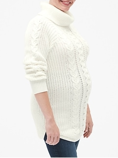 Maternity Long Cable-Knit Turtleneck Pullover Sweater