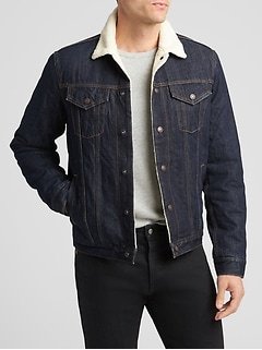 Sherpa-Lined Denim Jacket
