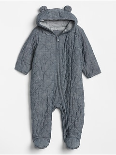 Baby Chambray Bear One-Piece