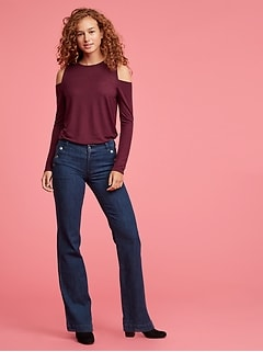 Mid Rise Wide-Leg Jeans in Stretch