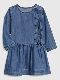 Denim Button Ruffle Dress