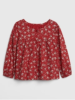 Shirred Floral Long Sleeve Top
