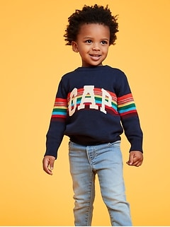 Intarsia Crazy Stripe Logo Pullover Sweater