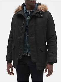 Hooded Parka Jacket with Faux-Fur Trim