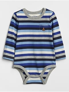 Baby Stripe Brannan Bear Pocket Bodysuit