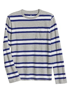 Stripe Long Sleeve Pocket T-Shirt