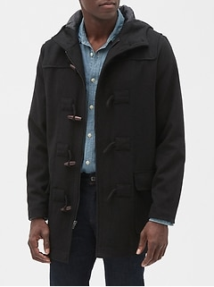 Hooded Toggle Coat in Wool Blend