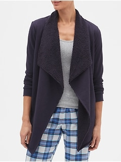 Sherpa-Lined Open-Front Jacket in French Terry