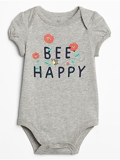 Baby Picot-Trim Graphic Bodysuit