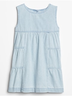 Toddler Denim Tier Ruffle Dress