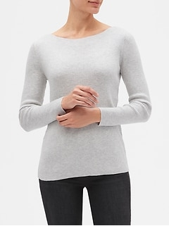Ribbed Long Sleeve Boatneck Pullover