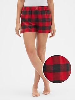 Print Flannel Shorts