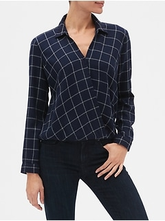Plaid Wrap-Front Shirt in Twill