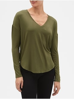 Pleat Long Sleeve T-Shirt
