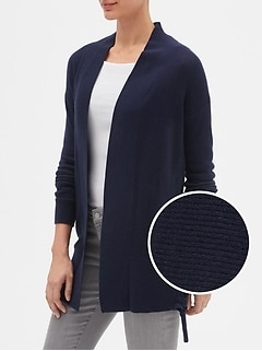 Side-Lace Open-Front Cardigan