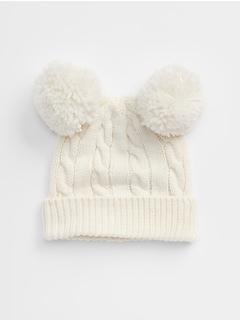 Pom-Pom Cable-Knit Beanie