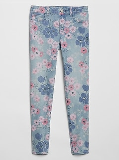 Kids Superdenim Jeggings in Floral with Fantastiflex