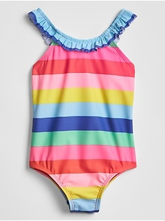 Toddler Ruffle Stripe Swim One-Piece